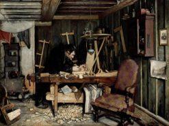 A Carpenter's Workshop | Gustav Wentzel | Oil Painting