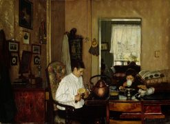 Breakfast I. The Artist's Mother and Brother | Gustav Wentzel | Oil Painting