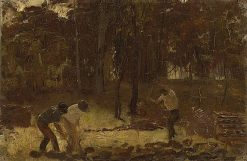 Turning the Soil (Composition study for 'Charcoal burners') | Tom Roberts | Oil Painting