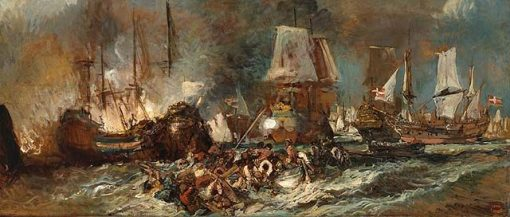 Naval Combat | Eugene Isabey | Oil Painting