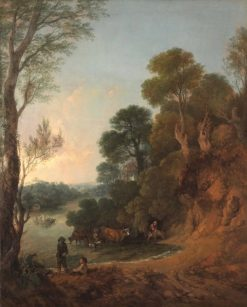 River Landscape with Cattle Watering and Ferry Boat | Thomas Gainsborough | Oil Painting