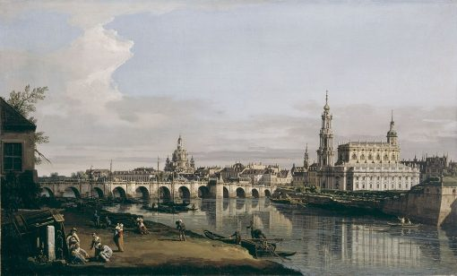 Dresden from the Right Bank of the Elbe below the Augustus Bridge | Bernardo Bellotto | Oil Painting