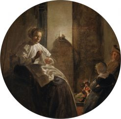 A Woman Sewing by Candlelight | Dirck Hals | Oil Painting