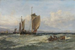 Trawlers Leaving Port | Edwin Hayes RHA RI ROI | Oil Painting