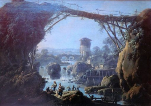 Landscape with Washerwomen and Peasants   Jean Pillement   Oil Painting