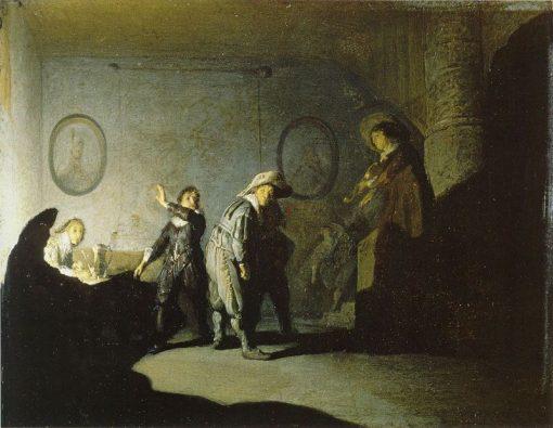 Interior with Figures Playing 'Handjeklap' | Rembrandt van Rijn | Oil Painting