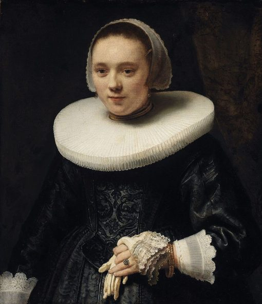 Portrait of a Woman Holding Gloves | Rembrandt van Rijn | Oil Painting