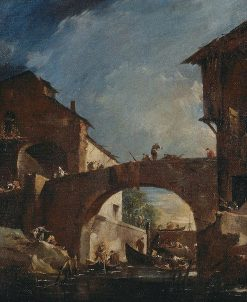 The lock at Dolo on the Brenta: Capriccio | Francesco Guardi | Oil Painting