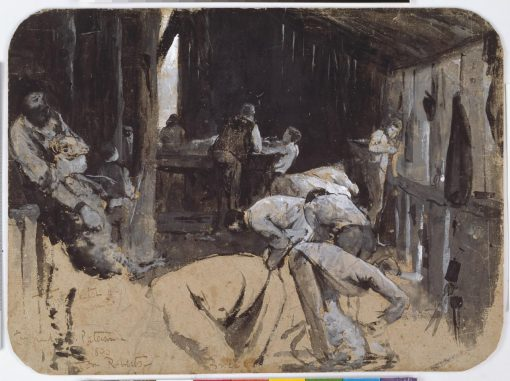 First sketch for Shearing the Rams | Tom Roberts | Oil Painting