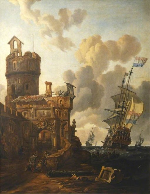 A Dutch Ship Passing a Fort | Abraham Jansz. Storck | Oil Painting