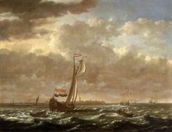 A Dutch Admiralty Yacht off Flushing | Cornelis van Wieringen | Oil Painting