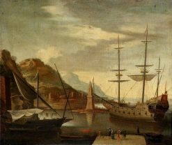 Shipping in a Mediterranean Harbour   Dutch School th Century   Unknown   Oil Painting