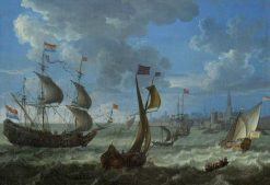 Shipping off Flushing   Dutch School th Century   Unknown   Oil Painting