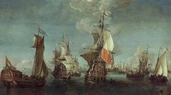 Shipping off Rotterdam   Dutch School th Century   Unknown   Oil Painting