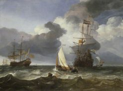 A Smalschip with Two Dutch Indiamen coming to Anchor | Hendrick Jacobsz. Dubbels | Oil Painting