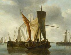 Dutch Fishing Boats Becalmed near a Jetty | Hendrick Jacobsz. Dubbels | Oil Painting