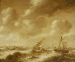 Shipping in a Gale   Hendrick van Anthonissen   Oil Painting