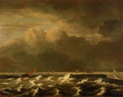 Rough Seas Breaking over a Jetty | Jacob van Ruisdael | Oil Painting