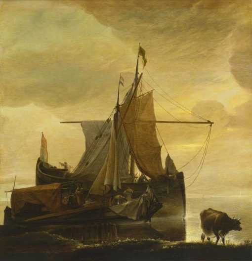 Two Vessels by the Shore at Daybreak | Jan van de Cappelle | Oil Painting
