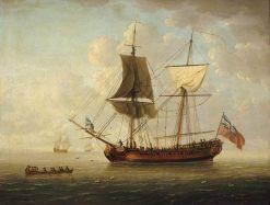 A Naval Brigantine in a Calm Sea | John Cleveley the Elder | Oil Painting