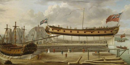 A Sixth-Rate on the Stocks | John Cleveley the Elder | Oil Painting