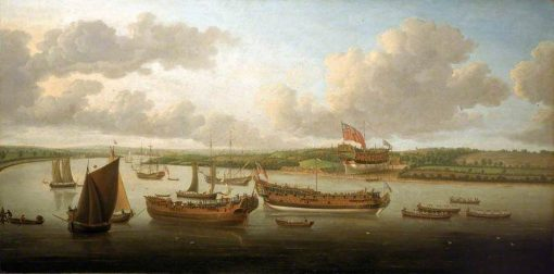 Launch of a Fourth-Rate on the River Orwell | John Cleveley the Elder | Oil Painting