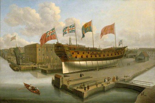 The 'Buckingham' on the Stocks at Deptford | John Cleveley the Elder | Oil Painting