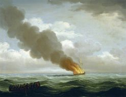 The 'Luxborough' Galley Burnt Nearly to the Water 25 June 1727 | John Cleveley the Elder | Oil Painting