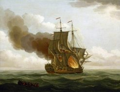 The 'Luxborough' Galley on Fire | John Cleveley the Elder | Oil Painting
