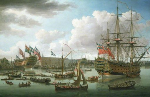 The 'Royal George' at Deptford Showing the Launch of 'The Cambridge' | John Cleveley the Elder | Oil Painting