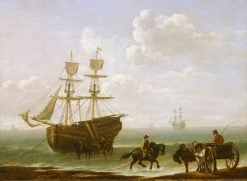 A Beached Collier Unloading into Carts | Julius Caesar Ibbetson | Oil Painting