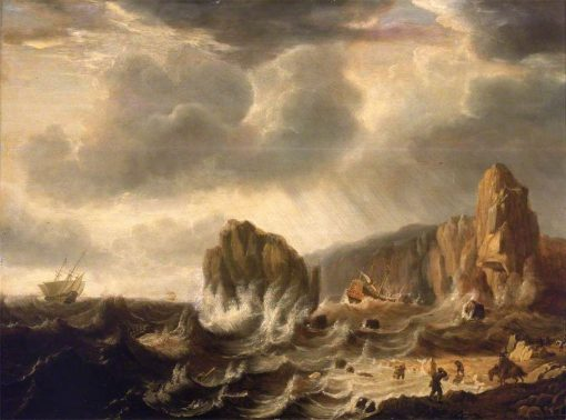 A Ship Wrecked off a Rocky Coast | Simon de Vlieger | Oil Painting
