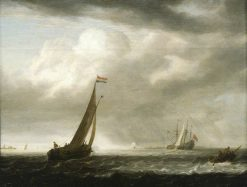 A Squally Day in a Dutch Estuary | Simon de Vlieger | Oil Painting