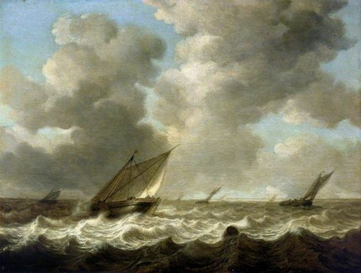 Fishing Boats in a Rough Sea | Simon de Vlieger | Oil Painting