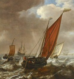 A Dutch Ferry Boad before a Breeze | Simon de Vlieger | Oil Painting