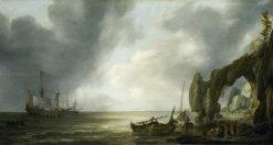 Dutch Men-of-War off a Craggy Coast | Simon de Vlieger | Oil Painting