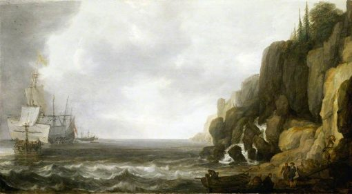 Dutch Ships Revictualling off a Rocky Coast | Simon de Vlieger | Oil Painting
