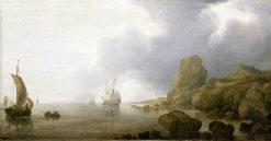 Ships Becalmed on a Rocky Coast | Simon de Vlieger | Oil Painting