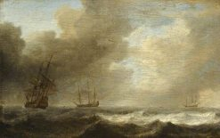 A Dutch Ship Lying-to in a Strong Breeze | Willem van de Velde the Younger | Oil Painting