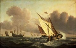 A Kaag Going to Windward in a Fresh Breeze | Willem van de Velde the Younger | Oil Painting