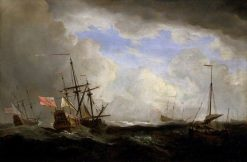 An English Ship and a Hoeker at Sea in a Gale with Other Ships | Willem van de Velde the Younger | Oil Painting
