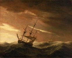 An English Ship at Sea Lying-To in a Gale | Willem van de Velde the Younger | Oil Painting