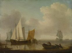 Dutch Vessels Becalmed near the Shore | Willem van de Velde the Younger | Oil Painting