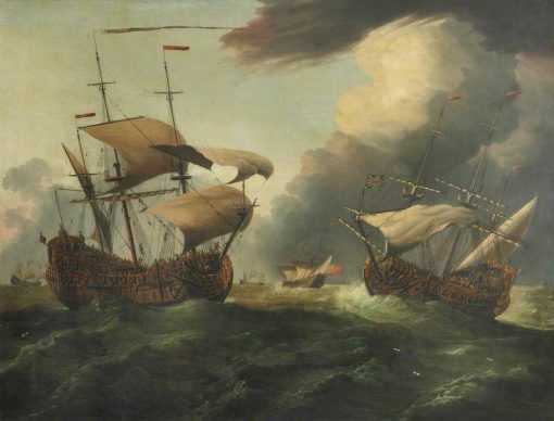 Two English Third-Rates at Sea in a Gale | Willem van de Velde the Younger | Oil Painting