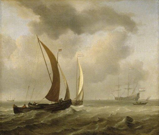 Two Kaags at Sea before a Fresh Breeze | Willem van de Velde the Younger | Oil Painting