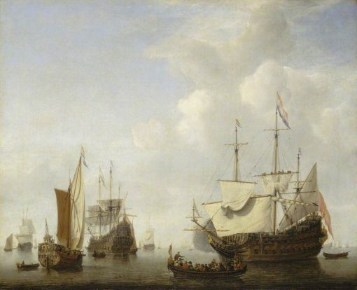 A Dutch Flagship Coming to Anchor with a States Yacht before a Light Air | Willem van de Velde the Younger | Oil Painting