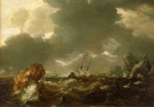 A Dutch Mercant Ship Running between Rocks in Rough Weather | Willem van de Velde the Younger | Oil Painting