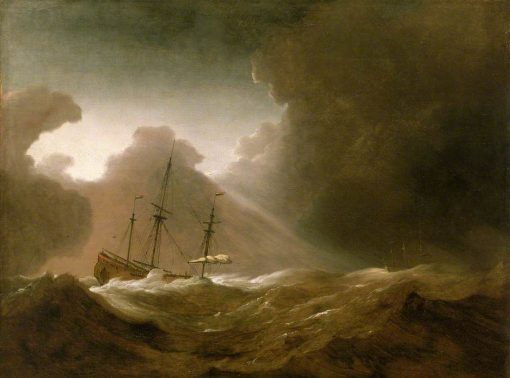 A Dutch Ship Scudding Before a Storm | Willem van de Velde the Younger | Oil Painting