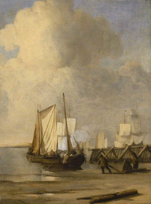 A Kaag coming Ashore near a Groyne with Ships and Vessels under Sail Beyond | Willem van de Velde the Younger | Oil Painting