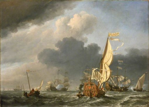 A States Yacht in a Fresh Breeze Running Towards a Group of Dutch Ships | Willem van de Velde the Younger | Oil Painting